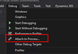 Attach to process visual studio